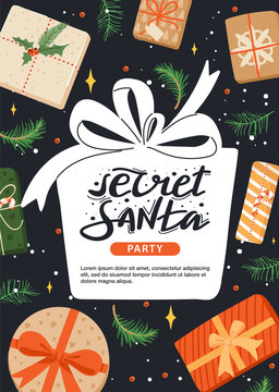 Secret Santa invitation template with present, fir-tree branch, berry and star. Gift box shape with stylish lettering and copy space. Design concept for invitation, poster, banner etc. Vector.