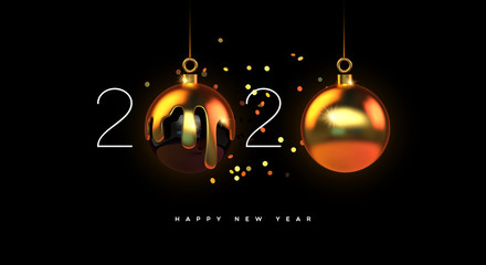 Wall Mural - Happy New year 2020 gold 3d bauble decoration