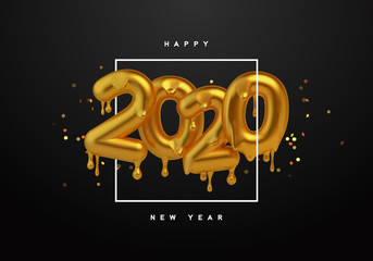 Wall Mural - New Year 2020 gold 3d number melted drip