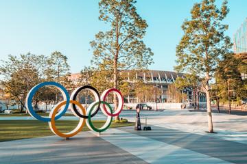 Tokyo, Japan - Nov 1, 2019: Olympic symbol logo at Japan New National Stadium in Shinjuku. Tokyo Summer Olympic 2020 host venue, international multi-sport event, or Japanese landmark concept