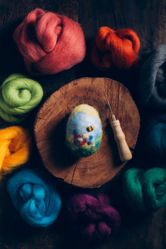 Overhead view of Easter egg made of wool and felt