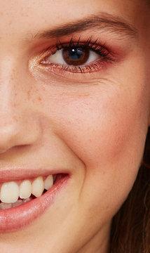 Close up beauty half face