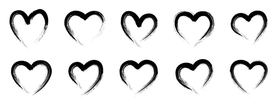 Grunge heart shape. Hand drawn vector hearts. Drawing with a brush in the shape of heart - stock vector.