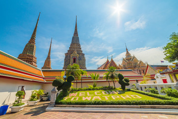 Wat Po (Wat Pho), Temple of Reclining Buddha, Royal Monastery, Popular Tourist Attractions in Bangkok, Thailand.