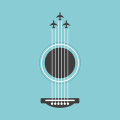 Vector guitar flat style illustration. Music instrument abstract graphic design, colorful with plane.