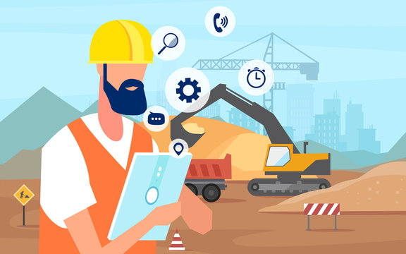 vector of a man construction engineer using tablet app managing a new building project