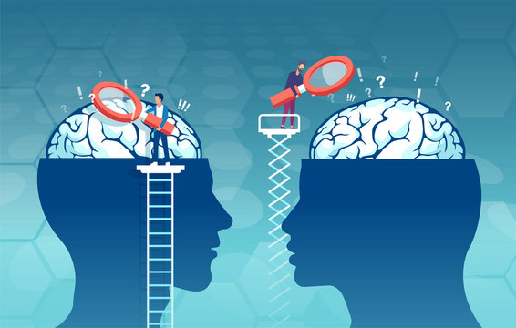 vector of scientists researching male and female brain looking for psychology differences
