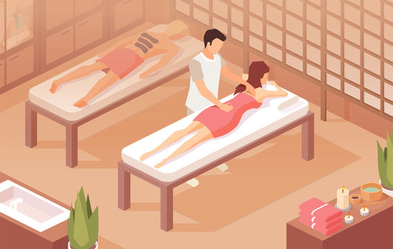 Vector of a woman lying on a table while therapist doing healing massage on a sore back