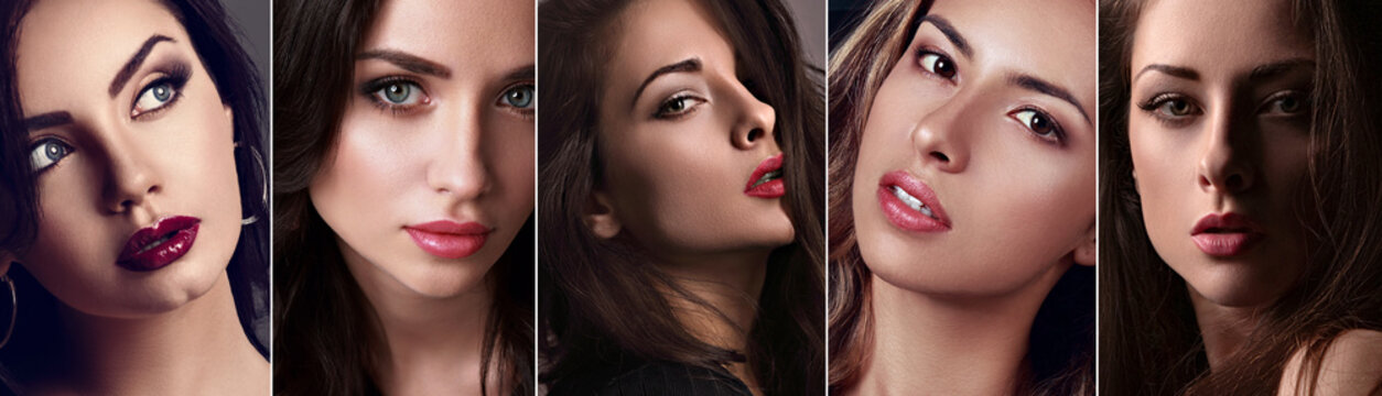 Beautiful collage of sexy bright makeup emotional women with bright lips and effect eyes Closeup