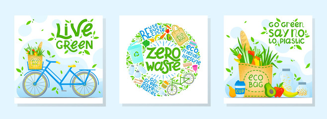 Fototapeta Bundle of zero waste vector illustrations with lettering.Healthy lifestyle principals.Perfect for prints,flyers,banners,eco posters,covers,typography design,social media.Live green, go to zero waste. obraz
