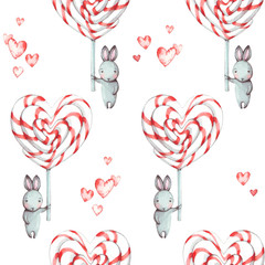 Cute seamless pattern with bunnies (rabbits) and sweet candies in the shape of a heart. Watercolor illustration for design cards, fabric for Valentines day, congratulations, Happy Birthday.