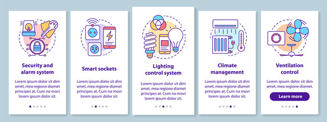 Smart house onboarding mobile app page screen with linear concepts. Home automation system for comfortable life walkthrough steps graphic instructions. UX, UI, GUI vector template with illustrations