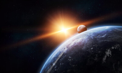 Earth planet with sloar light in space. Sun, Moon and stars. Elements of this image furnished by NASA