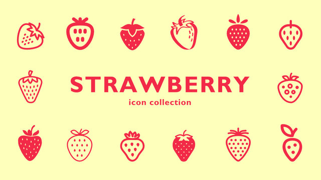 strawberry  icon collection (vector fruits)