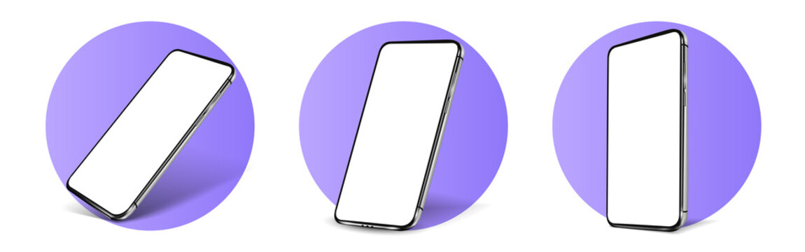 Smartphone frameless blank screen mockup template perspective view.Realistic smartphone mockup. Mobile phone in different angles of view. Violet, Blue smartphone template. 3d Vector illustration