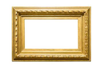 Landscape golden decorative picture frame on white background
