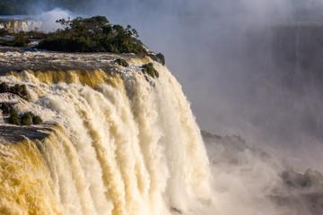 Streams of water falling from Iguazy Falls, Brazilian side , Foz Do Iguazu, Brazil