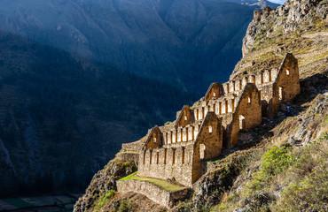 Pinkuylluna, ruins of ancient Inca storehouses located on mountains, Sacred Valley, Ollantaytambo, Peru