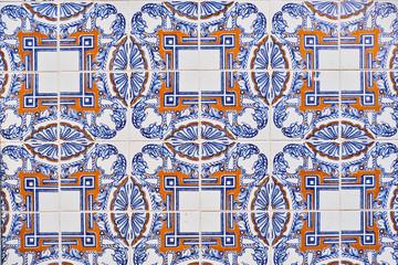 Portugal, Lisbon, Alfama, ceramic tiles Azulejos on wall