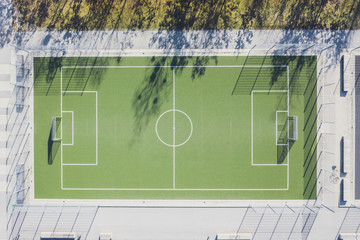 Aerial view of soccer field, Munich, Germany