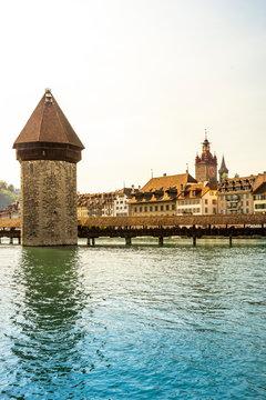 Chapel Bridge over Reuss river against clear sky in Lucerne, Switzerland