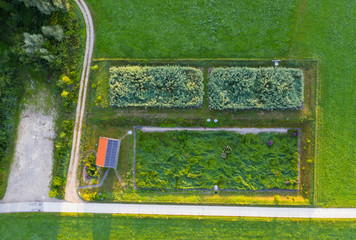 Aerial view of biological wastewater treatment plant in Peretshofen near Dietramszell, T?lzer Land, Upper Bavaria, Bavaria, Germany