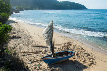 Boat on shore at beach, Labadee, Cap Haitien, Haiti, Caribbean