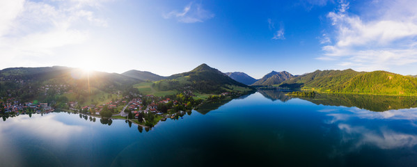 Panoramic view of Lake Schliersee and mountains against sky