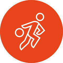 Person Dribbling Basketball Outline Icon