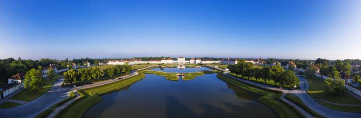 Germany, Upper Bavaria, Munich, Aerial view of?Nymphenburg?Palace garden ponds