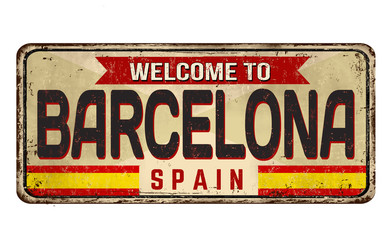Barcelona vintage rusty metal sign