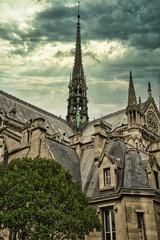 Wall Mural - Notre Dame de Paris before the Fire, under a dramatic Sky