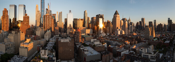 Sunset panorama of Manhattan's Hell's Kitchen skyline as seen from the 10th Avenue, Midtown Manhattan, New York City. Taken on September the 25th, 2019.