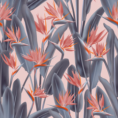Bird of paradise tropical flower vector seamless pattern. Jungle exotic tropical plant fabric design. South African plant tropical blossom of crane flower, strelitzia. Floral textile print.