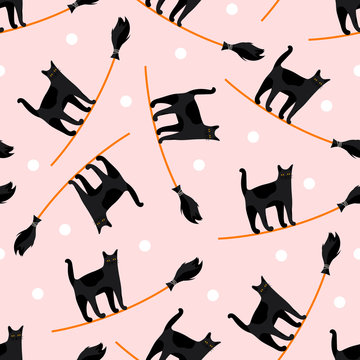 Seamless pattern with icons of cute cat on broom. Characters on background for traditional christmas holiday Befana and Halloween card.