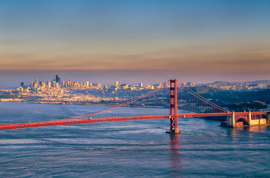 South Tower of Golden Gate Bridge and San Francisco skyline