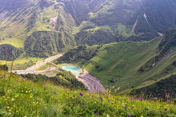 Wildflowers and green grass over the precipice in the Caucasus mountains