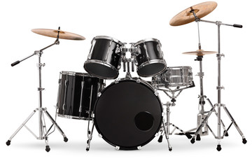 Studio shot of a black and silver drum kit