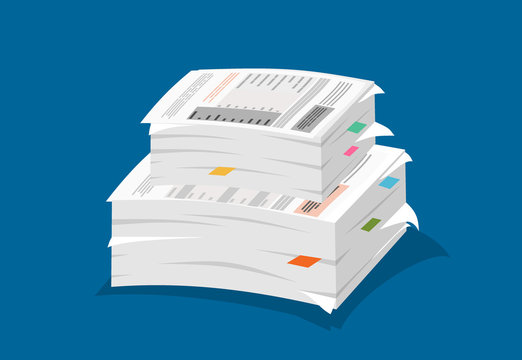 Stack of papers on blue background. Vector illustration in flat style