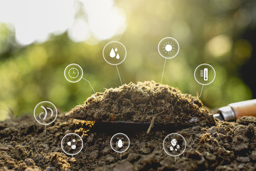 Dung or manure with technology, icons about decomposition become soil around. Fototapete