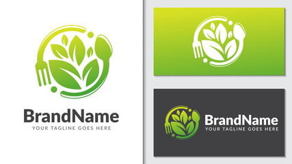 vvegan food leaf nature concept logo icon vector template