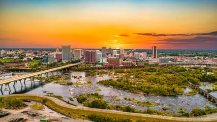 Downtown Richmond, Virginia, USA Drone Skyline Aerial