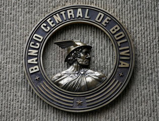 The logo of Bolivia's Central Bank is seen in La Paz