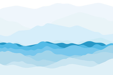 Printed kitchen splashbacks Light blue Blue sea and beautiful waves background and mountain colorful. Vector.