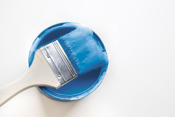 House renovation, paint can. copy space,classic blue. Color of the year 2020