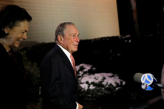 Democratic U.S. presidential candidate Michael Bloomberg addresses the Iron Hills Civic Association in Staten Island, New York