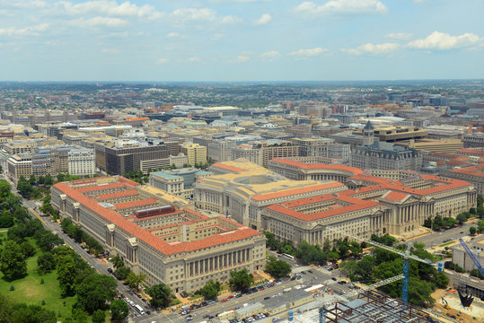 US Commerce Department, Andrew W Mellon Auditorium, Ronald Reagan Building and Old Post Office in Federal Triangle aerial view from the top of Washington Monument, Washington, District of Columbia DC,