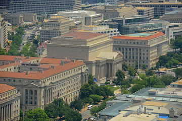 National Archives and Records Administration aerial view from top of the Washington Monument in Washington, District of Columbia DC, USA.