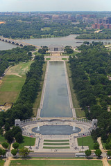 Lincoln Memorial and World War II Memorial, aerial view from the top of Washington Monument in Washington, District of Columbia DC, USA.