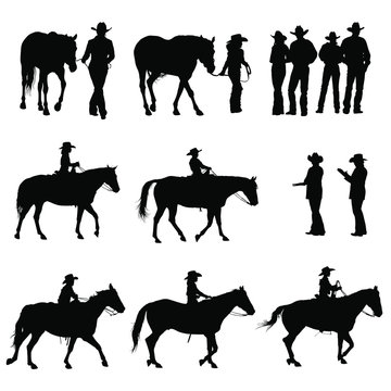 Vector silhouettes of boys & girls riding horses in a 4H horse show.
